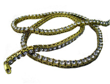 Gold Plated 1 Row of Rocks Faux Diamond Hiphop Bling Pharaoh Chain