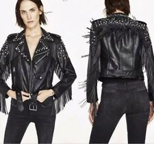 ZARA franges cloutées en simili cuir noir perfecto L 30 grunge rock sold out