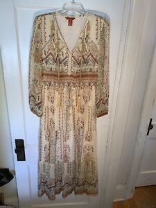 Sundance Catalog Awakening Dress Silk Aztec Maxi Dress Womens Size 6 Boho