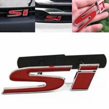 Metal 3D Red SI Badge Logo Car Front Grille Ornament Emblem For Honda Civic