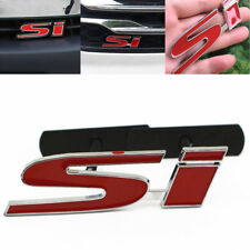 Metal Red Si Badge Logo 3d Car Front Grille Ornament Emblem For Honda Civic Fits 2004 Honda Civic