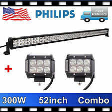 PHILIPS 52Inch 300W Led Light Bar Combo Offroad+2X 18W 4INCH 4X4 Lamp 12V24V PET