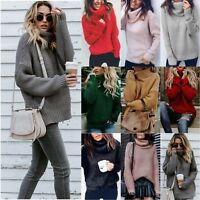 Women's Cowl Neck Winter Chunky Knitted Sweater Warm Sweatshirt Pullover Tops