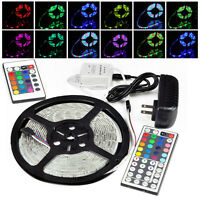 5M RGB 3528 300 LED SMD Flexible Light Strip Lamp /24 44Key /12V 2A Power Supply