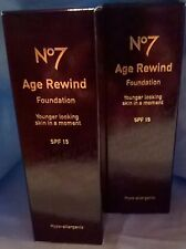 10 x Boots No7 Age Rewind Hypo-Allergenic Foundation SPF15 No15 Buff Make-up