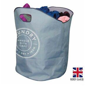 XL LAUNDRY BAG Basket Handles Foldable Washing Sack Clothes Storage Bin 317265UK