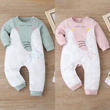 Newborn Infant Baby Boys Girls Cute Elephant Long Sleeve Romper Jumpsuit Clothes