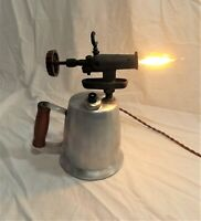 Vintage Plumbers Blow Torch Converted into Table Lamp Light Industrial Steampunk
