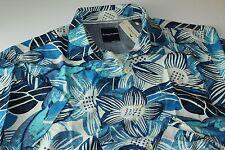 Tommy Bahama Camp Shirt Blossom Sockem Bering Blue 100 Silk T316674 Large L