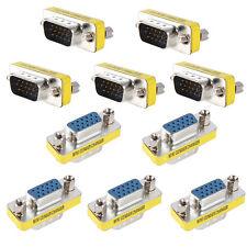 10x VGA/SVGA 15pin Female to Male Mini Gender Changer Coupler Adapter Converter