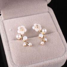 Ear Stud Hoop Earrings Jewelry Holiday Fashion Women Lady Pearl Gold Flower Leaf