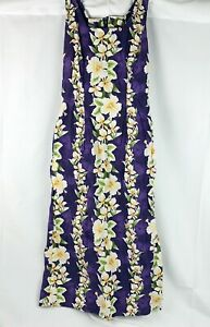 Vintage Royal Creations Purple Womens S Long Dress Hawaiian Tiki Island Floral