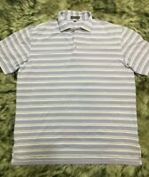 Peter Millar Summer Comfort Purple-White Striped  Polo Shirt Men Size Large