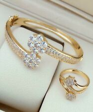 Indian Bollywood American Diamond Gold Plated Bracelet Ring Combo Set -Free Size