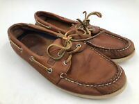 SPERRY TOP-SIDER Men's Sz 9 Brown Leather A/O 2-Eye Boat Deck Dock Shoes VTG
