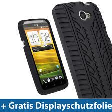 Schwarz Silikon Tasche für HTC One X S720e + Plus Hülle Reifen Profil Eins 1