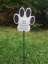 Sadly Missed My Special Cat Memorial Ornament Tribute Pet Paw Stick Garden