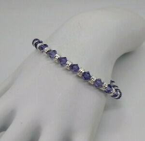 Swarovski Crystal Tanzanite & Silver Beaded Bracelet or Anklet On Steel Wire