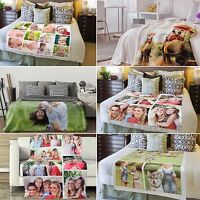 Personalised Soft Fleece Photo Printed Blanket Bed Throw , Single, Double