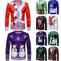 Men's Christmas Costume Santa Holiday Long Sleeve T-shirt Xmas Tops Jumper S-2XL