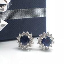 14K White Gold Natural Sapphire Diamond Earrings September Birthstone