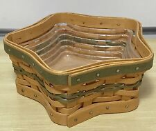 Longaberger Tree Trimming Star Basket W Protector Box Green Accents New In Box