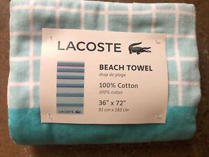 NEW Lacoste Logo Beach Pool Towel 36 x 72 100% Cotton 🐊