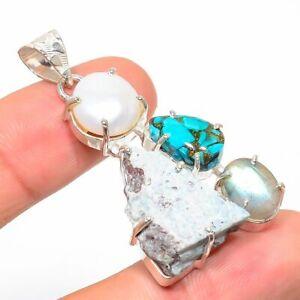 "Larimar Rough, Pearl Gemstone Handmade Ethnic 925 Silver Jewelry Pendant 2.01"""
