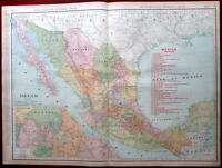 Mexico 1908 overprinted w/ Railroads huge detailed Rand McNally map