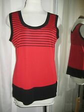 EXCLUSIVELY MISOOK RED W/BLACK STRIPES ACRYLIC KNIT SHELL, SZ M, XLNT, 25% OFF