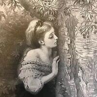 Antique Print, Litho, Olivia, Tennyson's The Talking Oak, Romance Poetry ETCHING