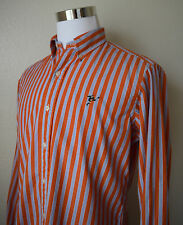 RALPH LAUREN RUGBY Men's Shirt L/Sleeve Striped Player Logo Orange Cotton Size M
