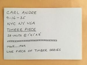 CARL ANDRE card 1969 Lucy Lippard 557,087 exhibit seattle vancouver
