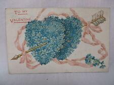 VINTAGE EMBOSSED VALENTINES POSTCARD GOLD ARROW THRU BLUE FLOWERED HEARTS 1908