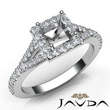 Semi Mount 0.5Ct Diamond Engagement 18k White Gold Halo Prong Set Princess Ring
