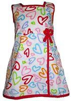 NEW LITTLE GIRLS DRESS WHITE RED HEART PRINT COTTON BE DOTTIE 1-2, 2-3 YEARS