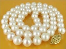 Natural 9-10MM AKOYA SOUTH SEA WHITE PEARLS NECKLACE 18 INCH