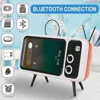 1* Creative Retro TV Mini Portable Wireless Bluetooth Phone Holder Speaker O2P9