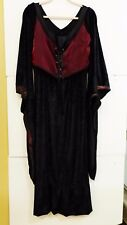 Handmade Women's Size M Flowing Gothic Black & Red Dress Long Flared Sleeves MS