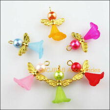6Pcs Gold Plated Wings Mixed Dancing Angel Charms Pendants 22x29mm