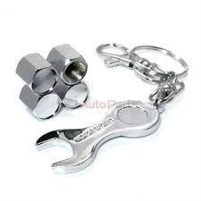 4 Chrome Tire/Wheel Air Stem Valve Caps & Wrench Key Chain Gift Set for Auto-Car