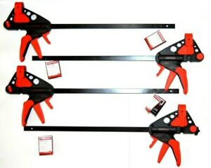 "4-Pieces 18"" Craftsman Bar Clamps / Spreader -One Hand Quick Release Woodworking"