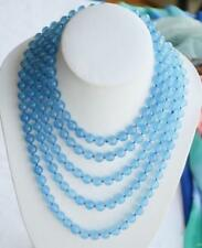 "round blue jade bead necklace Aaaaa New Fashion gift Long 100 ""10mm"