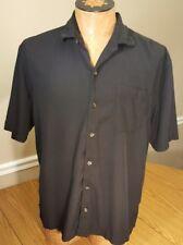 Tommy Bahama size large black 100% silk short sleeve camp shirt Hawaiian dress