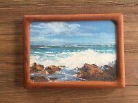 "Joyce Clark- Original 5""X 7"" Oil Painting on Board (Waves)"