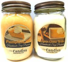 COMBO Pumpkin Pie and Pumpkin Creme Brulee - Set of Two 16oz All Natural Soy Can