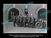 OLD POSTCARD SIZE PHOTO OF CEDARTOWN GEORGIA THE FIRE & POLICE DEPARTMENT 1940