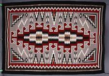 Vintage Navajo rug blanket Native American large textile fine tight weaving reds