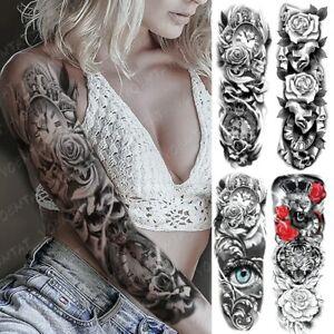 Large Arm Sleeve Tattoo Clocks Rose Eye Lion Waterproof Temporary Tatto Sticker
