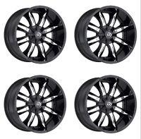 Set 4 17x9 Vision 423 Manic Black Machined Wheels 6x135 6x5.5 12mm 6 Lug w/ Lugs